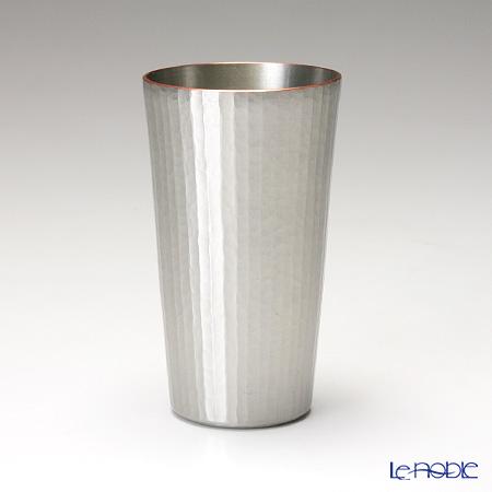 【伝統工芸】燕鎚起銅器(純銅) ビアカップ ストレート 十草文 白銀 Cu-S-3