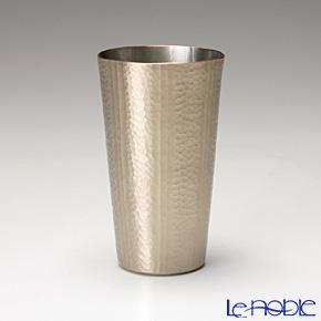 【伝統工芸】燕鎚起銅器(純銅) ビアカップ ストレート 線条文 白金 Cu-S-4