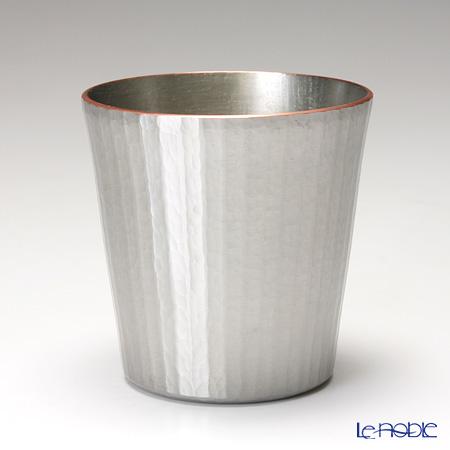 【伝統工芸】燕鎚起銅器(純銅) ロックカップ ストレート 十草文 白銀 Cu-S-5
