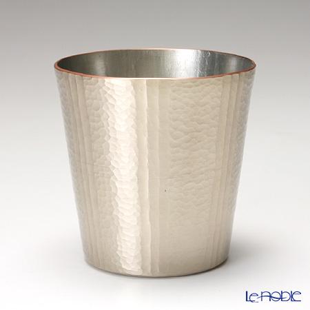 【伝統工芸】燕鎚起銅器(純銅) ロックカップ ストレート 線条文 白金 Cu-S-6
