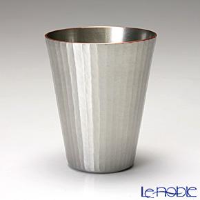 【伝統工芸】燕鎚起銅器(純銅) 冷酒カップ ストレート 十草文 白銀 Cu-S-7