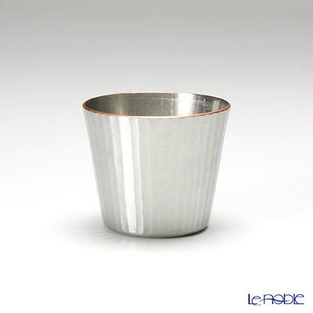 【伝統工芸】燕鎚起銅器(純銅)ぐい呑 ストレート 十草文 白銀 Cu-S-7-1