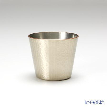 Traditional Japanese Handicraft: Tsuiki Copperware (native copper)  small sake cup 100cc, streake decor, platinum color
