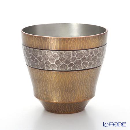 【伝統工芸】燕鎚起銅器(純銅) ロックカップ Cu-G-9 200cc 素銅/金色