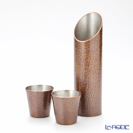 Tsubame Tuiki Copperware 'Hammer Mark' Light Brown Sake Cup & Bottle (set of 3 for 2 persons)