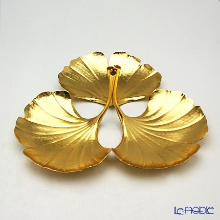 【伝統工芸】燕鎚起銅器(純銅)いちょう小皿三つ重ね 金 F-7