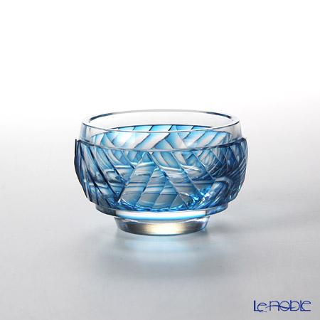 Takumi Cut-Glass Factory, Creation Of Satsuma Kiriko, Sake Cup, Wave pattern, Blue, 2020-1-B