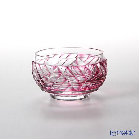 Takumi Cut-Glass Factory, Creation Of Satsuma Kiriko, Sake Cup, Wave pattern, Gold-Ruby, 2020-1-R