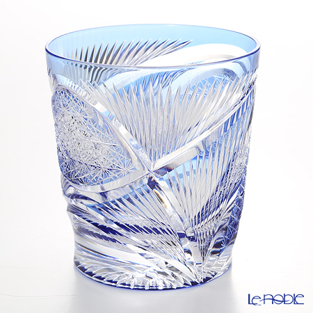 Nemoto Glass / Edo Kiriko Flashed Glass 'Hishou' Azure Blue OF Tumbler