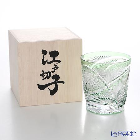 Nemoto Glass / Edo Kiriko Flashed Glass 'Hishou' Green OF Tumbler