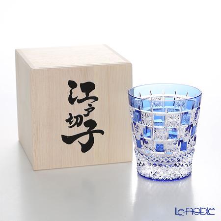 Nemoto Glass / Edo Kiriko Flashed Glass 'Kiku Ichimatsu (Checked)' Azure Blue OF Tumbler