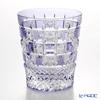 Crafts root glass co., Ltd. industrial art Edo kiriko cut glass old Chrysanthemum checkered purple * Edo kiriko cut glass craft: Nemoto Tatsuya Mr. works *