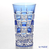 Nemoto Glass Edo kiriko SIP a beer Only the Chrysanthemum checkered blue * Edo kiriko cut glass craft: Nemoto Tatsuya's work *
