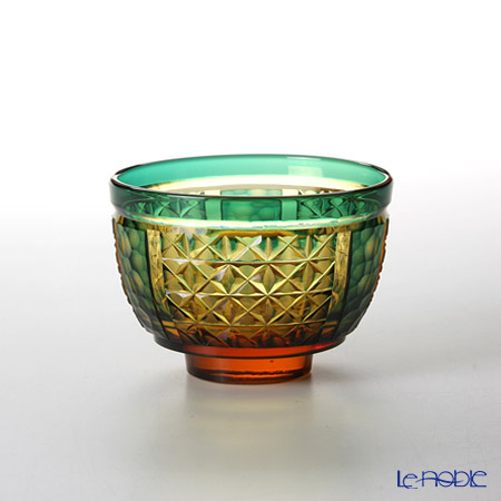 Takumi Cut-Glass Factory / Kiriko Flashed Glass 'Hoshi Kuzu (Star Dust)' Amber & Green Sake Cup 110ml 2022-3-A 创作萨摩切子 '星屑' 琥珀/绿色 酒杯