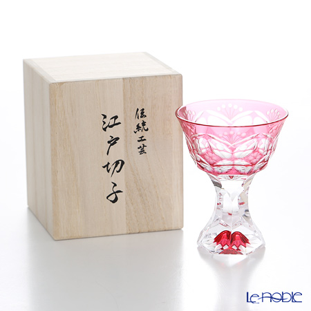 Nemoto Glass / Edo Kiriko Flashed Glass 'Hana mon (Flower)' Bronz-Red Pedestal Sake Cup