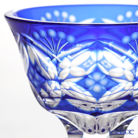 Nemoto Glass / Edo Kiriko Flashed Glass 'Hana mon (Flower)' Azure Blue Pedestal Sake Cup