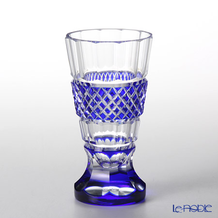 Takumi Cut-Glass Factory / Kiriko Flashed Glass 'Sa Aya' Azure Blue Footed Sake Glass 80ml 2039-4-L 创作萨摩切子 '纱绫' 琉璃蓝色 高足杯
