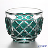 Nemoto Glass Edo kiriko sake 4-sided Storeowner and consists a dark green * Edo kiriko cut glass craft: root, Yukio's pieces *