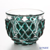 Nemoto Glass Edo kiriko sake 5-sided Storeowner and consists a dark green * Edo kiriko cut glass craft: root, Yukio's pieces *