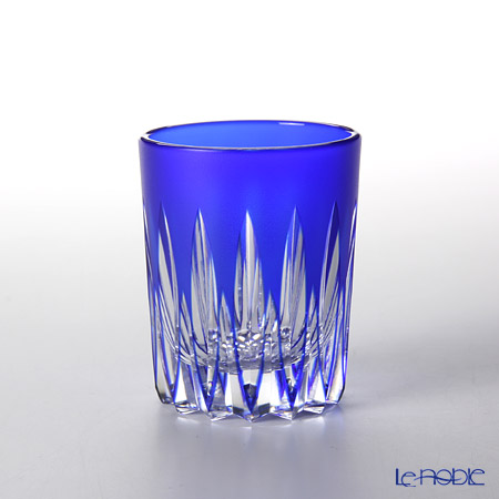 Takumi Cut-Glass Factory / Kiriko Flashed Glass 'Kenbishi' Azure Blue Sake Tumbler 90ml 2005-6-L 创作萨摩切子 '剑菱' 琉璃蓝色 酒杯