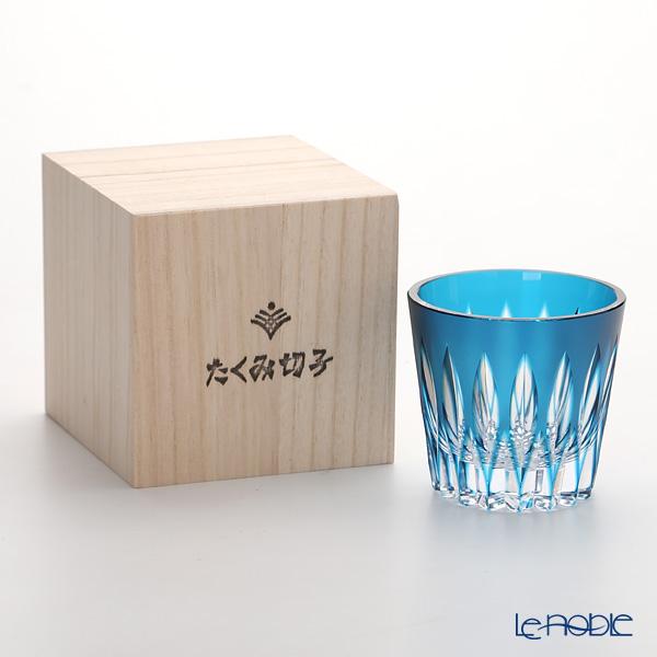 Takumi Cut-Glass Factory / Kiriko Flashed Glass 'Kenbishi' Blue 2006-6-B OF Tumbler 190ml (S) 2006-6-B 创作萨摩切子 '剑菱' 蓝色 古典杯(小)