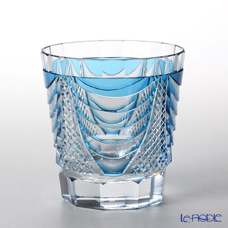 Takumi Cut-Glass Factory, Creation Of Satsuma Kiriko, Old Fashioned, Sho pattern, Blue 2007-7-B
