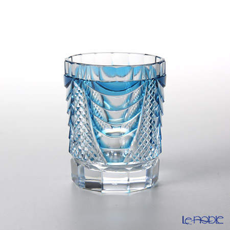Takumi Cut-Glass Factory / Kiriko Flashed Glass 'Shou' Blue Sake Tumbler 90ml 2005-7-B 创作萨摩切子 '翔' 蓝色 酒杯