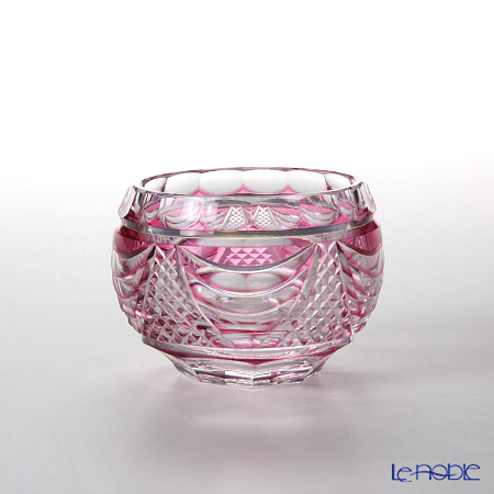 Takumi Cut-Glass Factory, Creation Of Satsuma Kiriko, Sake Cup, Sho pattern, Gold-Ruby, 2020-7-R