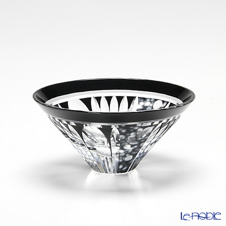 Takumi Cut-Glass Factory / Kiriko Flashed Glass 'Hotaru (Firefly)' Black Sake Cup 2003-12-BK 创作萨摩切子 '萤' 黑色 酒盅