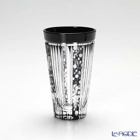 Takumi Cut-Glass Factory, Creation Of Satsuma Kiriko, Beer Glass, Firefly pattern, Black, 2004-12-BK