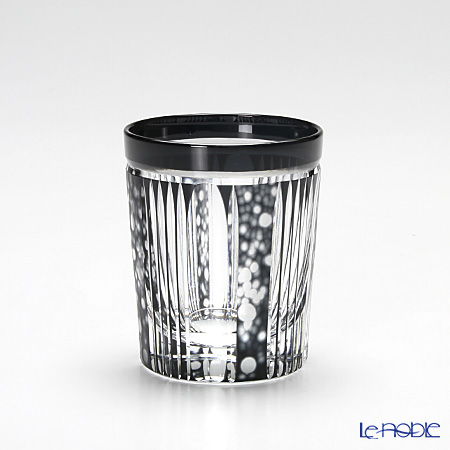Takumi Cut-Glass Factory / Kiriko Flashed Glass 'Hotaru (Firefly)' Black Sake Tumbler 2005-12-BK 创作萨摩切子 '萤' 黑色 酒杯