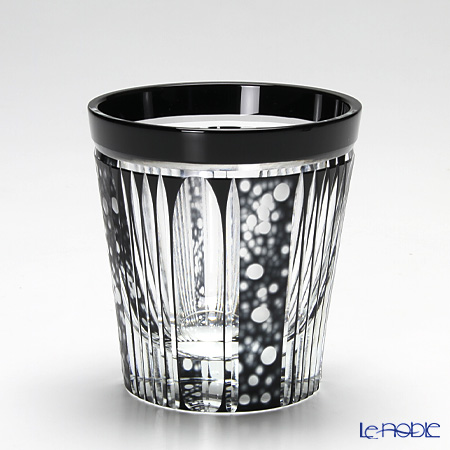 Takumi Cut-Glass Factory, Creation Of Satsuma Kiriko, Old Fashion, Firefly pattern, Black, 2007-12-BK