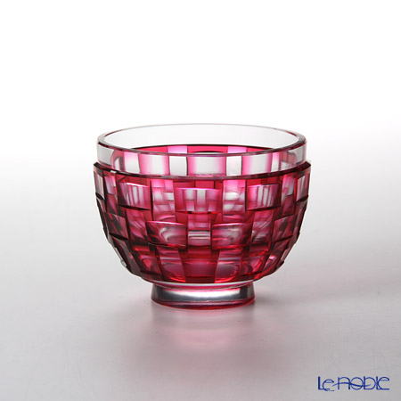 Takumi Cut-Glass Factory / Kiriko Flashed Glass 'Ajiro' Bronz-Red Cup 90ml 2022-9-R  创作萨摩切子 '网代 (渔梁)'金红色 酒杯