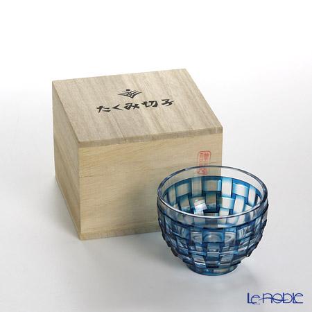 創作薩摩切子 網代 盃ブルー 2022-9-B