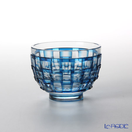 Takumi Cut-Glass Factory / Kiriko Flashed Glass 'Ajiro' Blue Cup 90ml 2022-9-B 创作萨摩切子 '网代 (渔梁)' 蓝色 酒杯