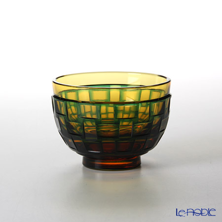 Takumi Cut-Glass Factory / Kiriko Flashed Glass 'Ajiro' Amber & Green Cup 90ml 2022-9-A 创作萨摩切子 '网代 (渔梁)' 琥珀/绿色 酒杯
