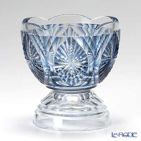 Takumi Cut-Glass Factory, Creation Of Satsuma Kiriko, Footed Glass, Ai-Kiku pattern, Satsuma Blue, Craftman by Takumi Takahashi