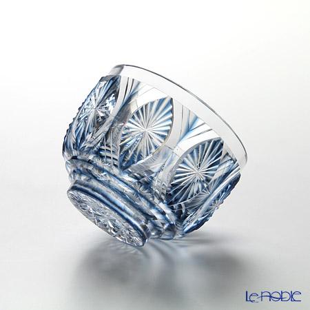 創作薩摩切子 切子碗 藍菊薩摩ブルー 太-7