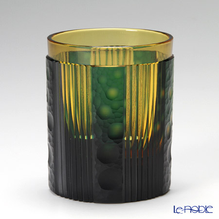 Takumi Cut-Glass Factory / Kiriko Flashed Glass 'Hotaru (Firefly)' Amber & Green OF Tumbler 太-R-3 创作萨摩切子 '萤' 古典杯 琥珀/绿色 [高桥太久美先生作品]