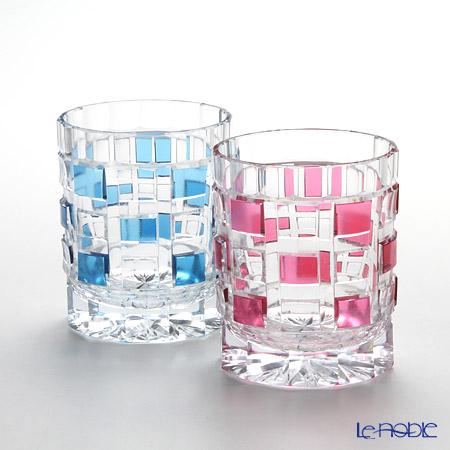 Takumi Cut-Glass Factory, Creation Of Satsuma Kiriko, Old Fashioned, Mosaic, Blue & Gold-Ruby, Craftsman by Takumi Takahashi