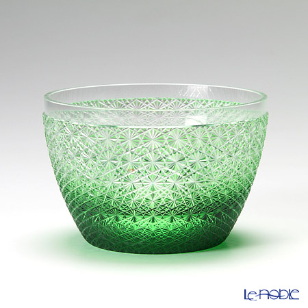 Takumi Cut-Glass Factory, Creation Of Satsuma Kiriko, Small Bowl, Kiku-tsunagi pattern, Green, Craftsman by Kimiko Yasuda