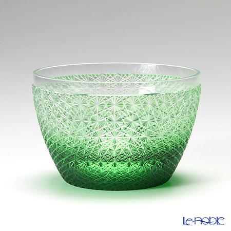 創作薩摩切子 小鉢 菊つなぎ 緑 公-6