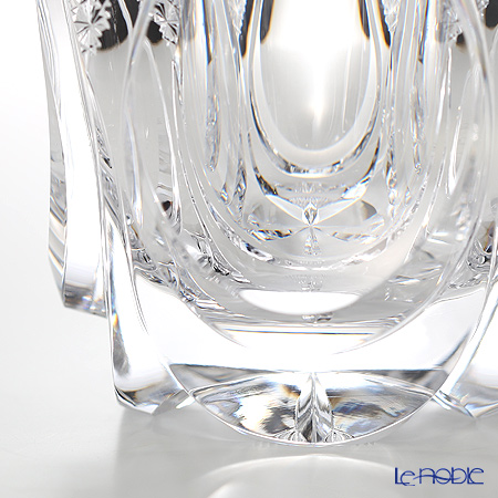 Nemoto Glass / Edo Kiriko 'Shizuku - Kiku Tsunagi' Clear Water Container with Lacquered lid