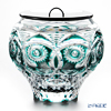 Nemoto Glass Edo kiriko water 10 OWL Emerald Green * Edo kiriko cut glass craft: root Yukio's pieces *