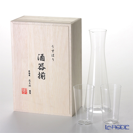 Shotoku Glass Usuhari Sake set (Pitcher & 2 Cup) with wooden box