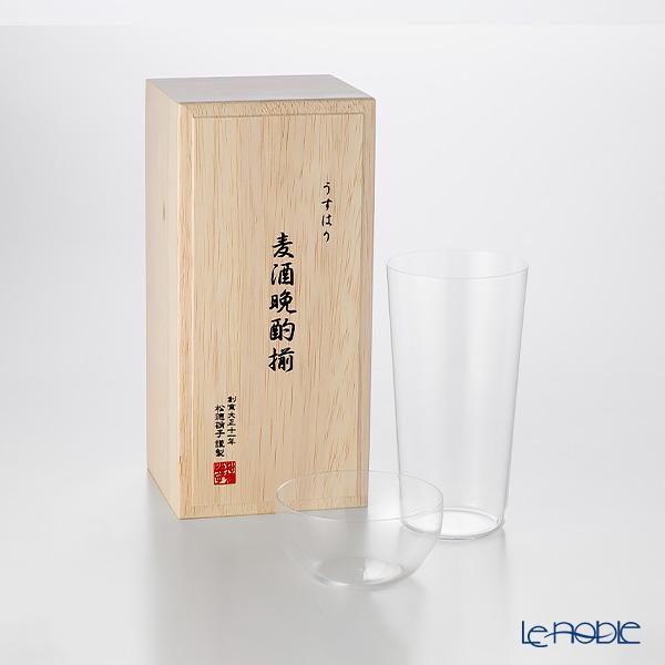 松徳硝子 うすはり 麦酒晩酌揃 タンブラー(L)&柿ピー小鉢セット 【木箱入】