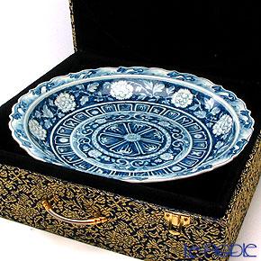 Jingdezhen Porcelain 'Blue & White / Peony & Treasure' Deep Plate 31.5cm