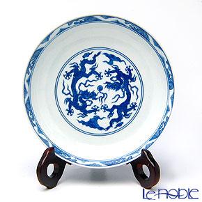 景徳鎮 青花双龍戲球紋盤 C0-00 18cm 黄 雲鵬 作