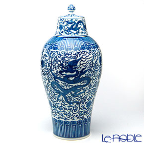 Jingdezhen Porcelain 'Blue & White / Dragon' Covered Vase H42cm (M)