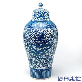 景徳鎮 青花龍穿花帯蓋梅瓶 C1-35(中) 42cm 黄 雲鵬 作